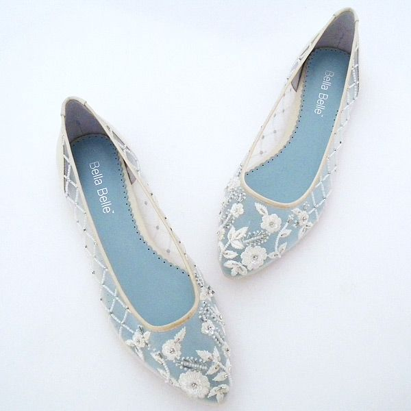 ea70d85e2 Perfect Details ~ Allegra Embroidered Bridal Flats. Dance the night away in  these beautiful ivory flat wedding shoes by Bella Belle.