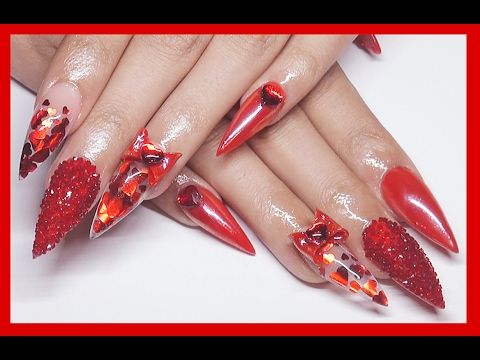 red heart valentine acrylic nails  nails brylee magazine