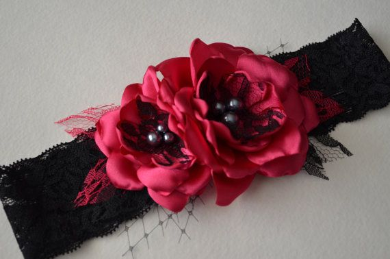 Hot Pink and Black Lace Garter by TheVintageCabbgeRose on Etsy, $16.00