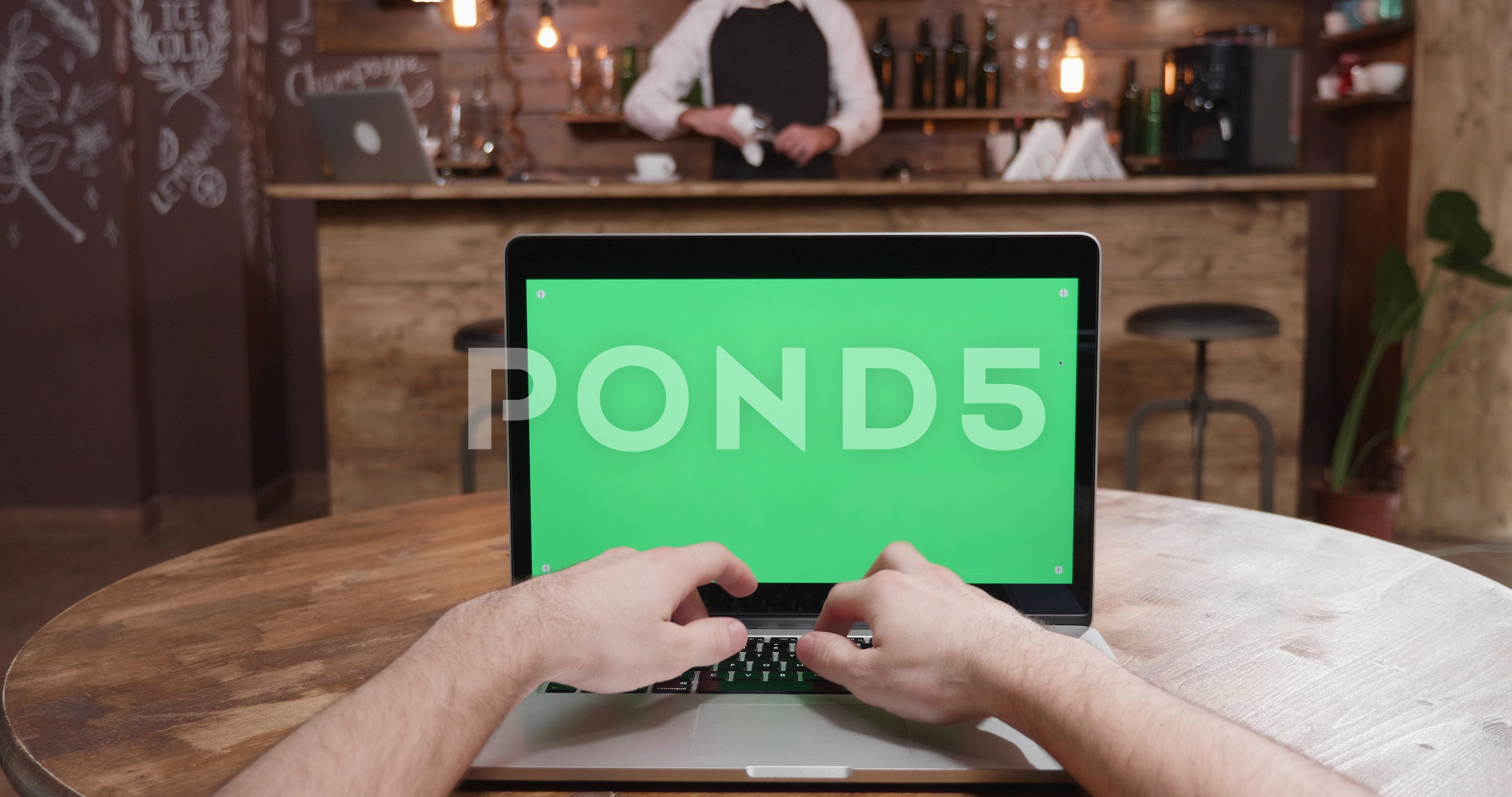 Pov Shot Of Typing On A Laptop With Green Screen Display Stock Footage Ad Typing Laptop Pov Shot Greenscreen Social Media Design Graphics Pov