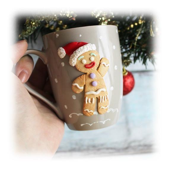 Christmas Gingerbread Man Decorated Mug Xmas Gift Christmas Etsy Polymer Clay Christmas Christmas Gingerbread Men Polymer Clay Gifts