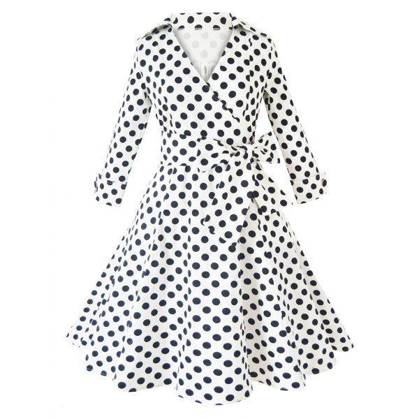 Stylish V Neck Polka Dot Long Sleeve Pleated Dress — 21.98 € ----Size: XL Color: WHITE
