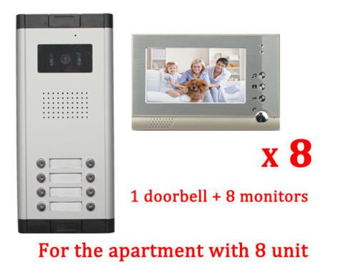 Apartment Intercom Entry System 8 Unit Wired Video Door Phone Audio