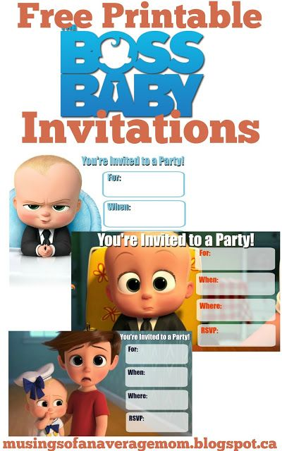Free Boss Baby Party Printables Baby Birthday Invitations Boss Baby Baby Birthday Party Boy