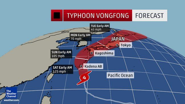 Typhoon Vongfong Bears Down On Okinawa, Kadena Air Base, Japan