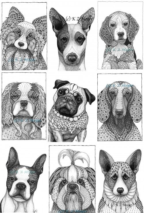 small and medium breed dogs matted print 9 breeds to choose from dog original art ink pen. Black Bedroom Furniture Sets. Home Design Ideas