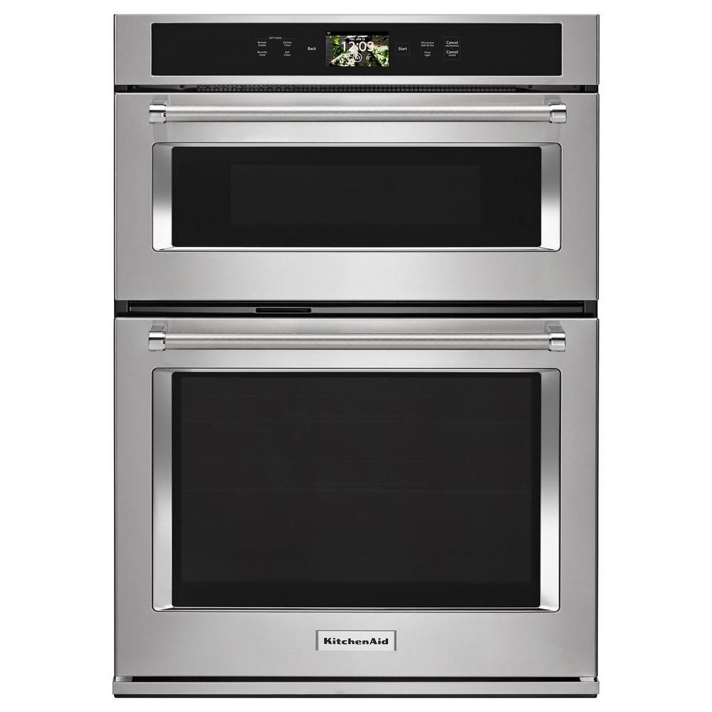 Kitchenaid 30 In Electric Convection Wall Oven With Built In Microwave And Powered Attachments In Stainless Steel Koce900hss Wall Oven Cleaning Oven Racks Oven Cleaning