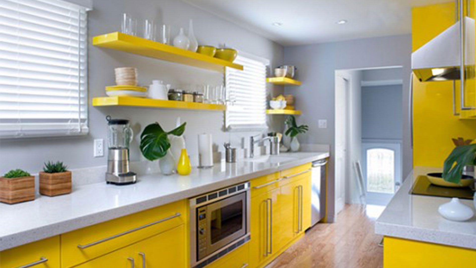 yellow kitchen with grey walls Beautiful