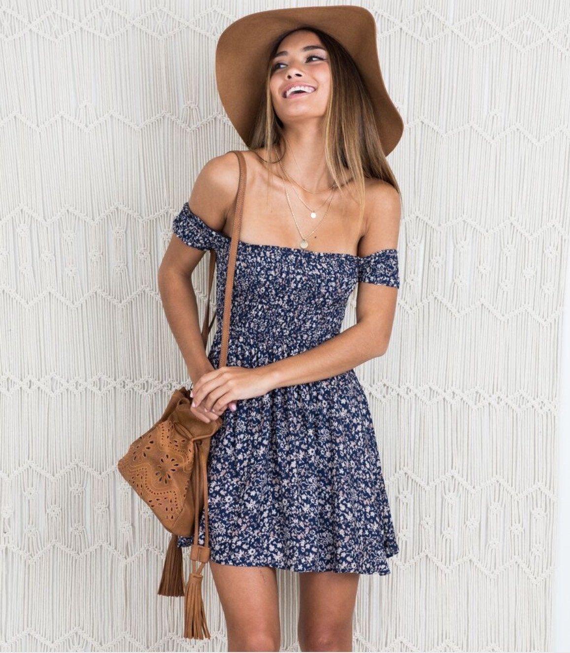 sexy off shoulder print summer dress vintage high waist beach