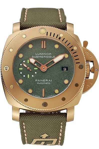 e386aedb21c Mens Fake Panerai Luminor Submersible 1950 3 Days Green Dial Yellow Gold  Plated Case And Bezel Watch With Green Fabric Strap With Beige Thread  Stitching