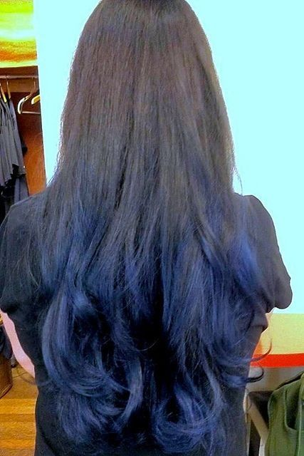 Black To Sky Blue Ombre Sewn In Hair