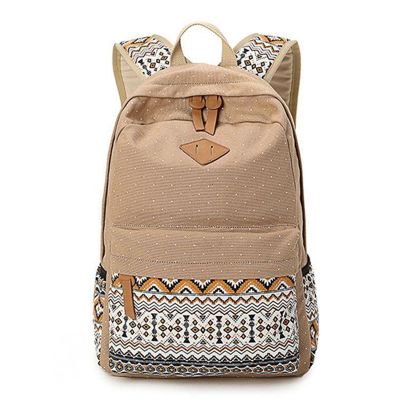 e5203c6eedfd XQXA Vintage Girl School Bags For Teenagers Cute Dot Printing Canvas Women  Backpack Mochila Feminina Casual Bag School Backpack