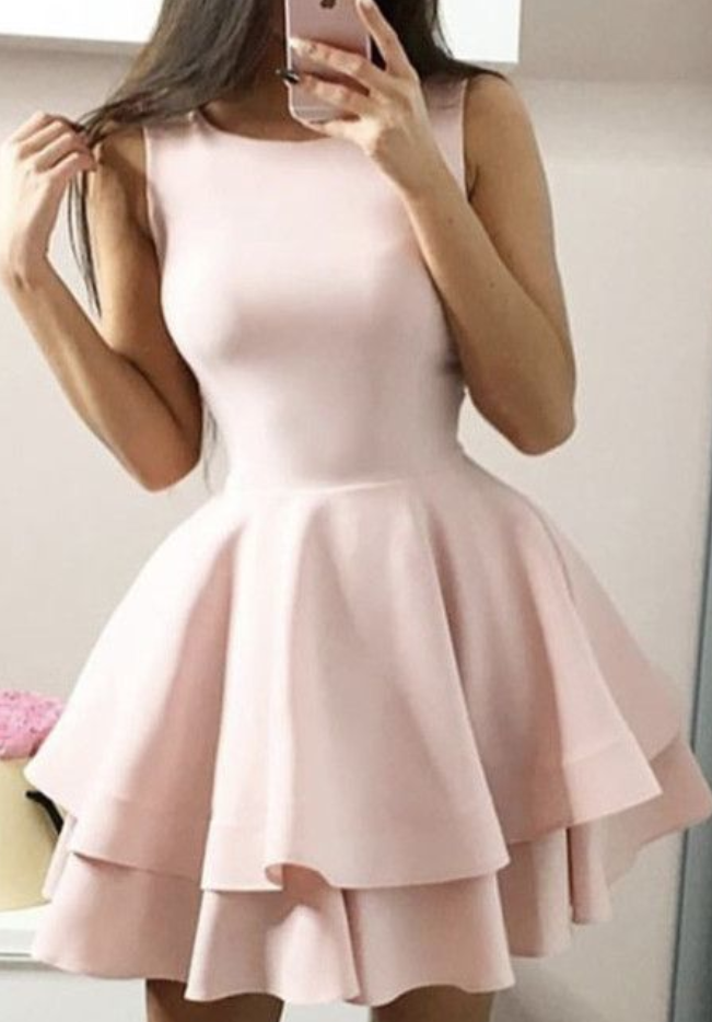 Short pink prom dresses,blush pink homecoming dresses,semi formal dress,baby pink homecoming dress,8th grade prom dresses