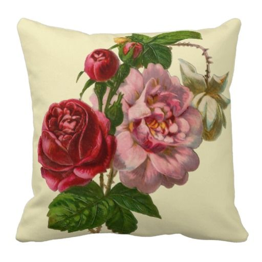 Elegant Victorian Roses Throw Pillows