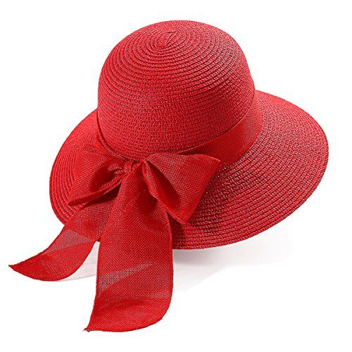 87afc619b5b7f5 Kuyou Damen Sonnenhut Elegant Frauen Strohhut Sommer Strand Hut (Rot).  Elegant mode und
