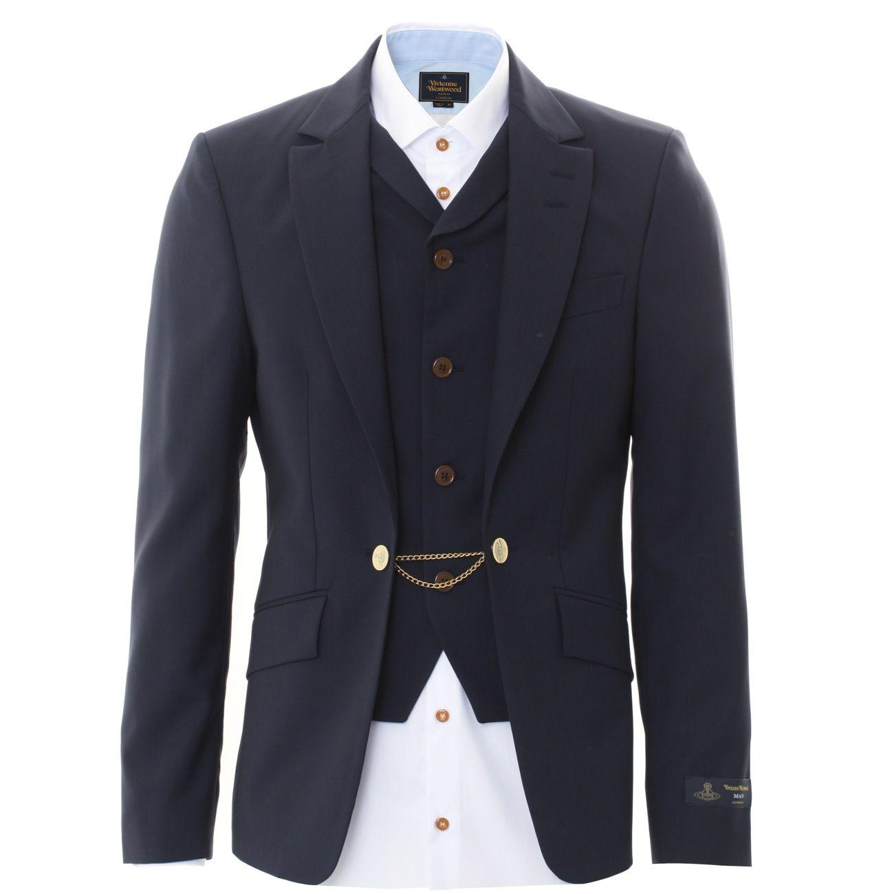 2d4adc345c8 Vivienne Westwood : Blazer Jackets : Blazer & Waistcoat Chain Detail in  Navy : John Anthony Mens Designer Clothes