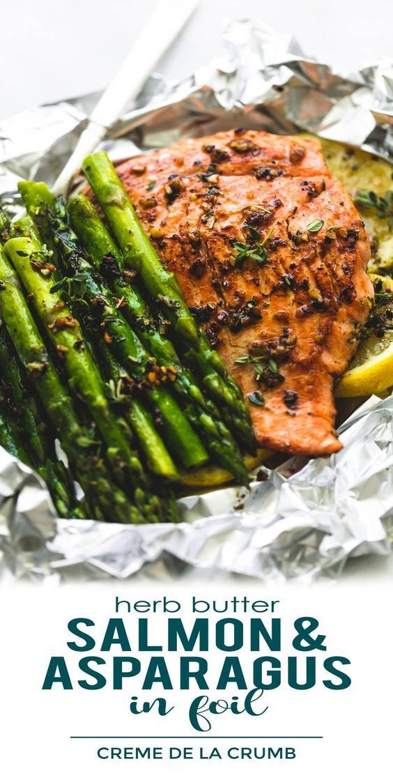 Photo of Foil Pack Recipe | Herb Butter Salmon And Asparagus Foil Packs