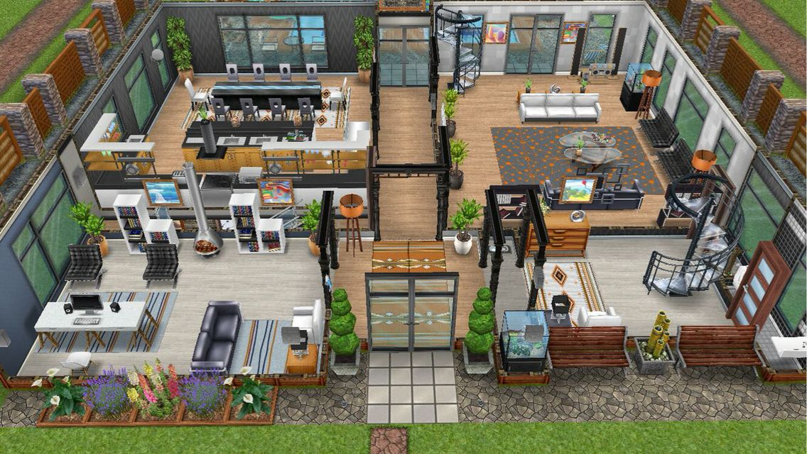 Modern Design Home For The Justice Family   Front View Main Floor   In My  Sims