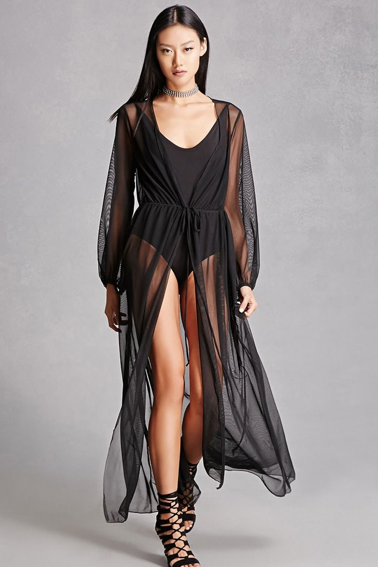 016b81b3432b5 A sheer mesh cardigan featuring a self-tie drawstring waist, long sleeves,  and a front slit. This is an independent brand and not a Forever 21 branded  item.