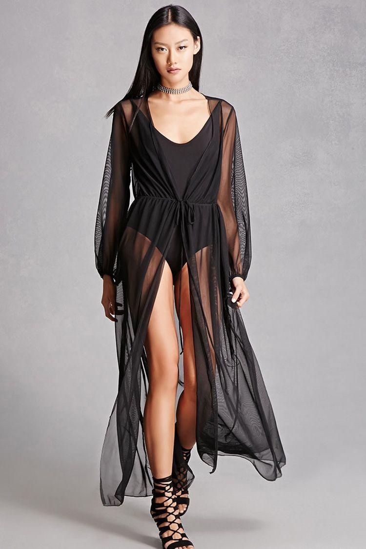 A sheer mesh cardigan featuring a self-tie drawstring waist, long ...