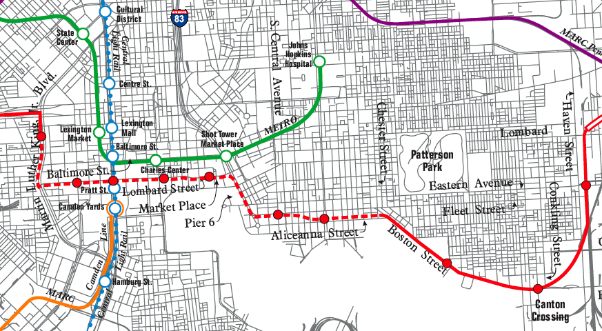 Baltimore Red Line Light Rail Map Downtown Segment Proposed