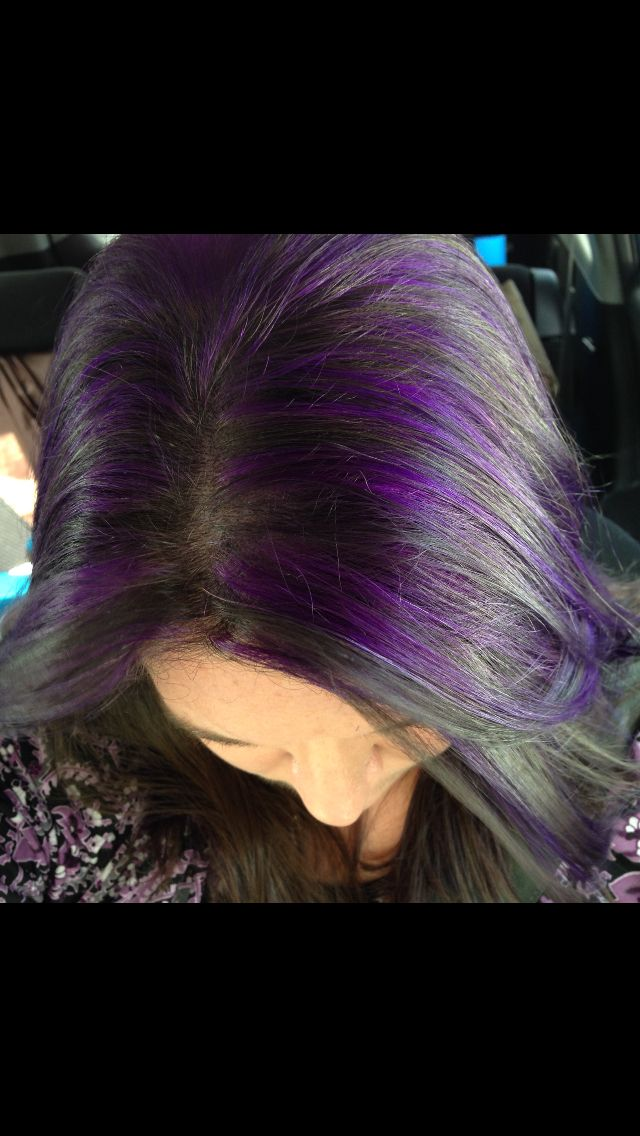 My Purple Highlights With My Dark Brown Hair Hair Pinterest