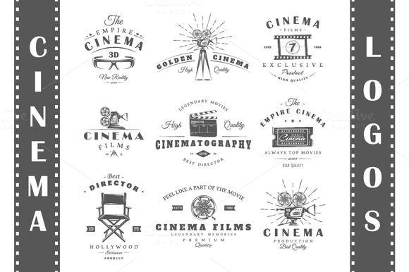 18 Cinema logos templates by Art Design on @creativemarket