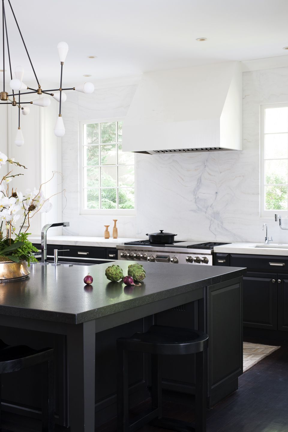 Genial Gorgeous Modern White Kitchen With A Black Kitchen Island By Ella Scott  Design. Classic Copper Kitchen Accents: ...
