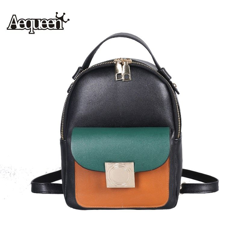 ecdb168fb387 AEQUEEN PU Leather Backpack Women 2017 Fashion Vintage Hit Color ...