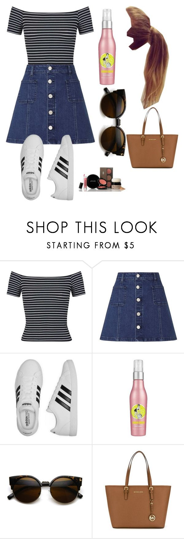 """""""Backstage with Westlife (Kian's fiancée)"""" by xkidinthedarkx ❤ liked on Polyvore featuring Miss Selfridge, Lipsy, adidas, Soap & Glory, ZeroUV, MICHAEL Michael Kors and philosophy"""