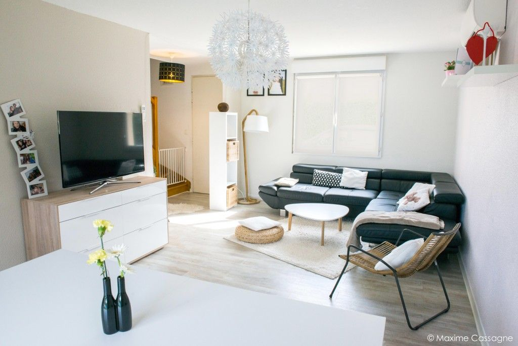 sejour moderne scandinave beige blanc bois canapé cuir noir ...