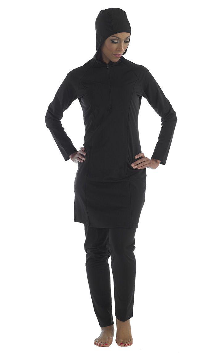 59926452a321 Black hooded swimwear 2pc, zipper Muslim Dress, Islamic Clothing, Modest  Outfits, Modest