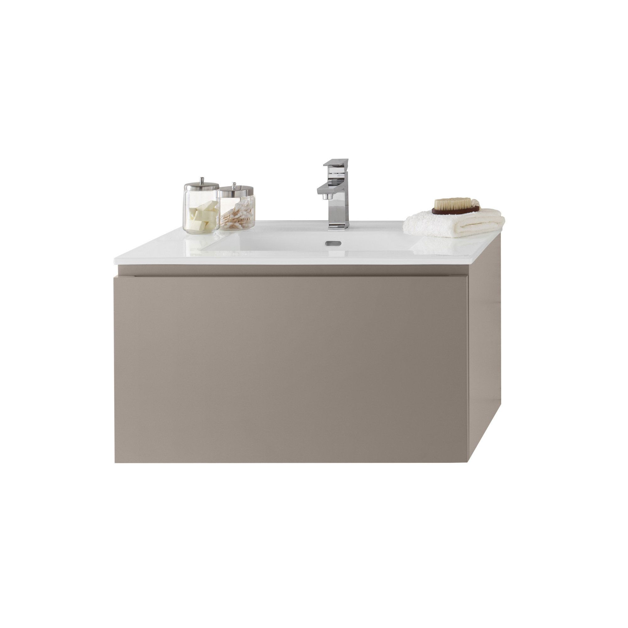 32 inch wall mounted single chrome metal pedestal bathroom vanity - Ronbow Ariella Wall Mount Bathroom Vanity Set In Blush Taupe Ceramic Bathroom Sink Top In White Blush Taupe Grey Size Single Vanities