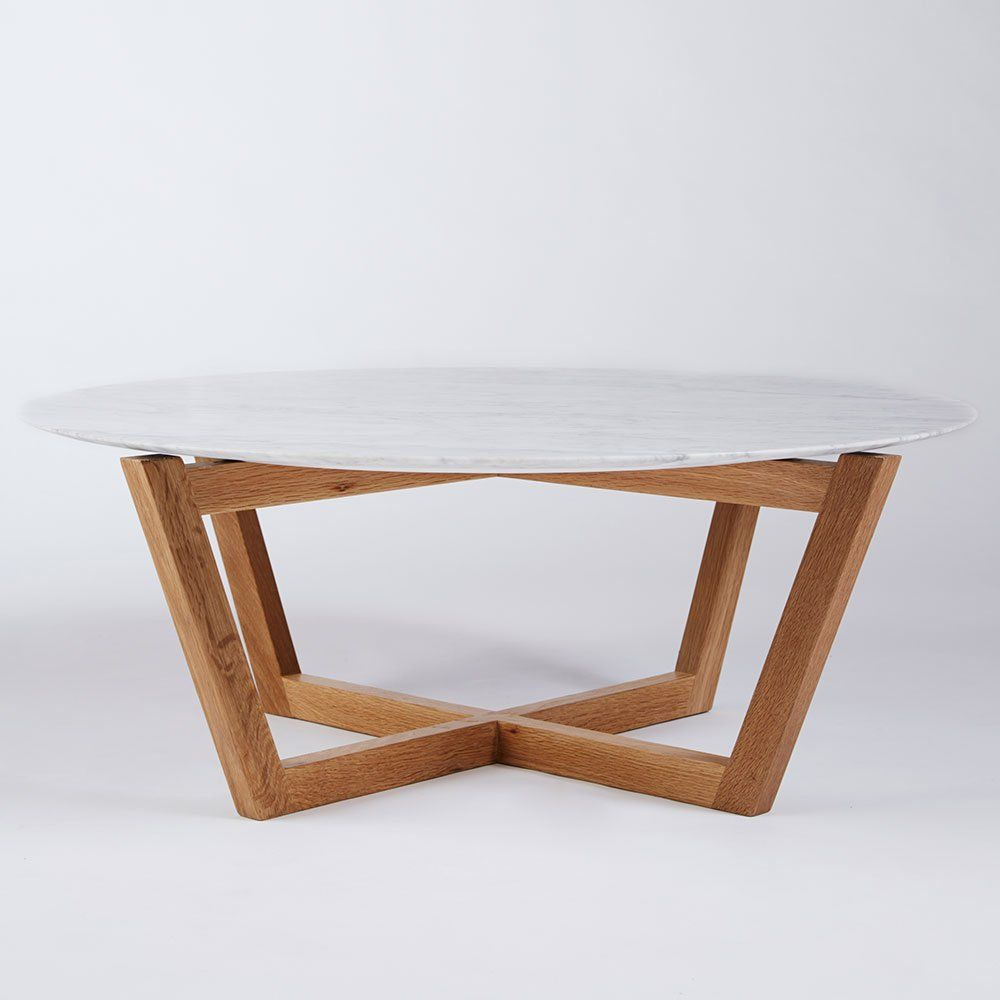 Modern Designer Round Italian Marble Coffee Table Oak
