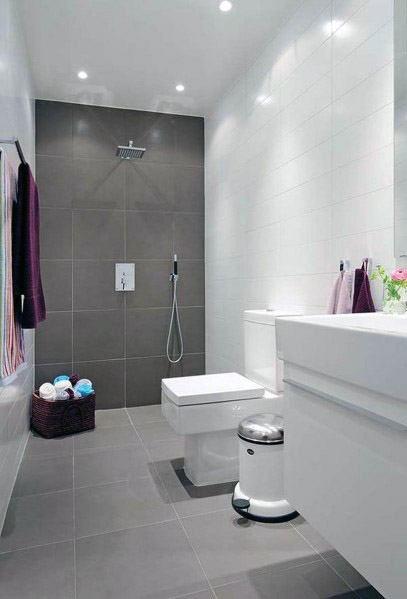 Top 60 Best Grey Bathroom Tile Ideas Neutral Interior Designs Small Bathroom Tiles Bathroom Design Small Simple Bathroom
