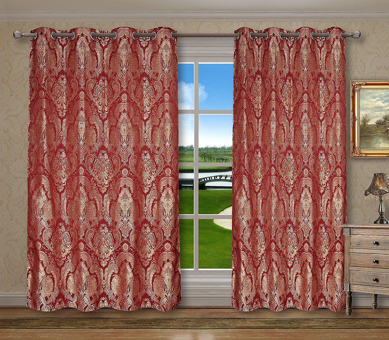 Grommets Window Curtains Panels for Bedroom Vintage Damask Floral
