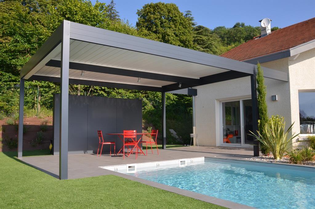 Lamellen #verlichting #windscherm #overkapping #modern #poolhouse - cuisine d ete couverte