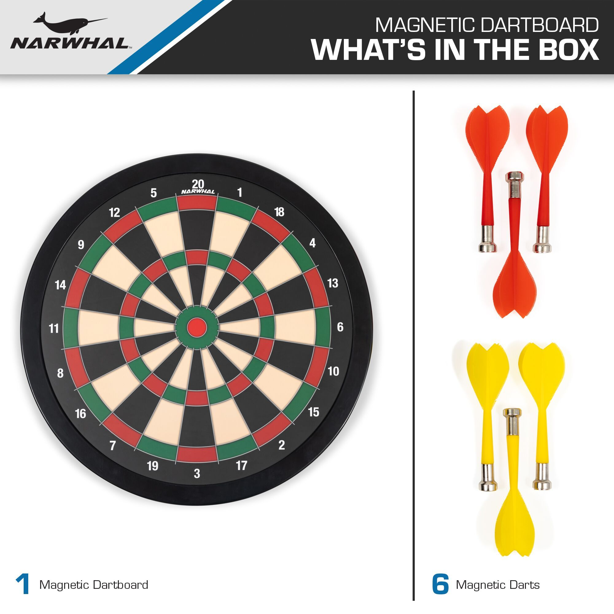Narwhal 15 5 Magnetic Dartboard Includes Six Magnetic Darts Ad