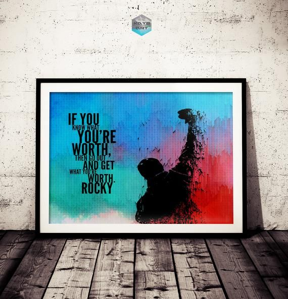 Rocky Inspirational Quote Fan Art Poster, Original Rocky Painting Print, Motivation Rocky Poster, Ro #rockybalboaquotes