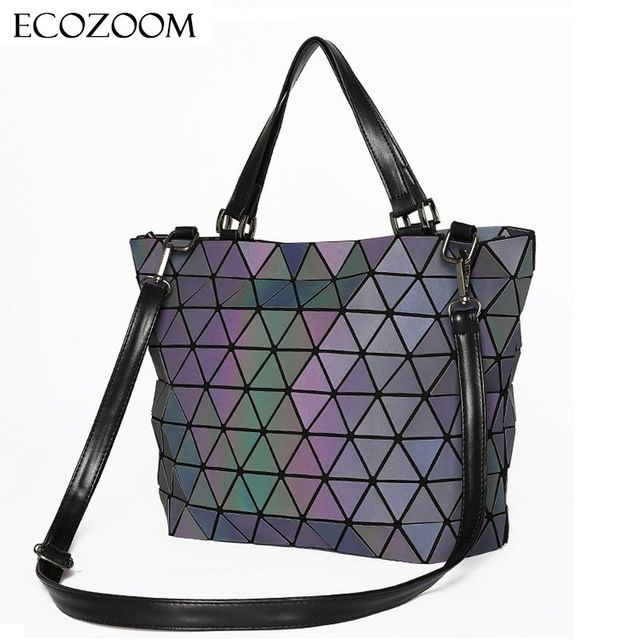 0a61ddfb1c Matte Women BaoBao Bag Geometry Sequins Mirror Saser Plain Folding Shoulder  Bags Luminous Handbag Casual Tote