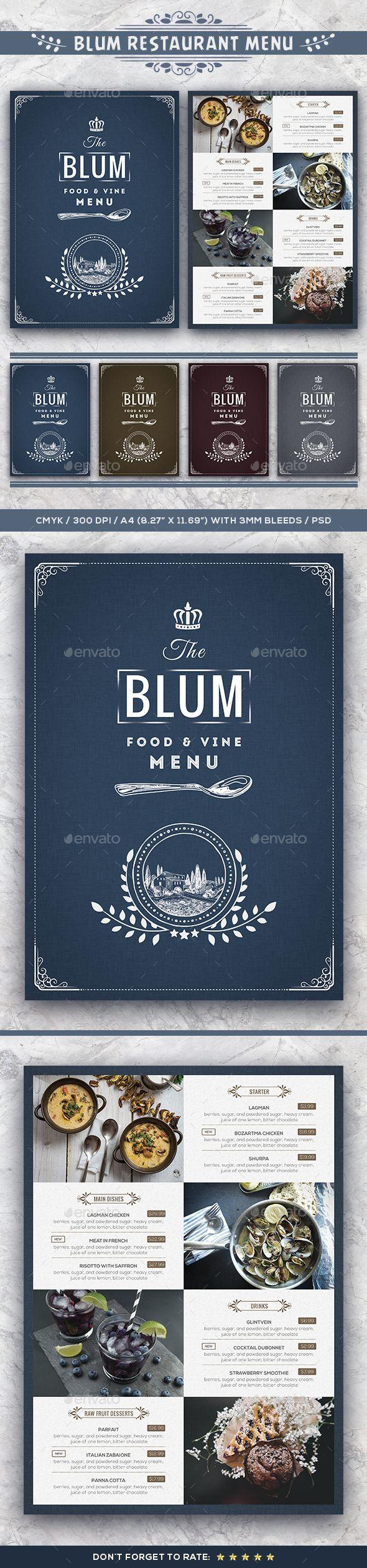 Blum Restaurant Menu | Bewerbung design, Bewerbung und Grafikdesign