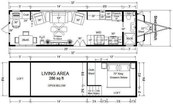 Tiny house floor plans 32 long tiny home on wheels design photo 3 bedrooms mini stairs to loft 286 sf w d closets