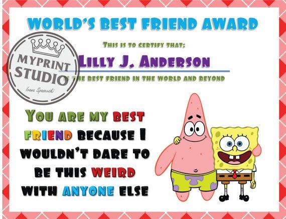 Spunge Bob Best Friend Award Template in MS Word by MyPrintStudio - microsoft word award template