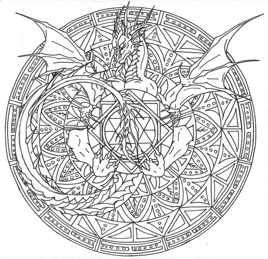 Dragon Mandala 2 By Airegon Mandala Coloring Pages Dragon Coloring Page Steampunk Coloring
