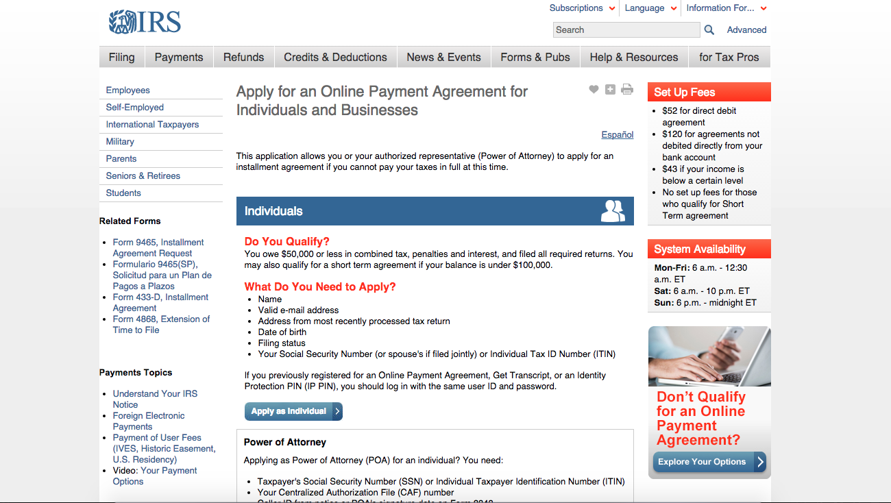 Irs Apply For An Online Payment Agreement For Individuals And