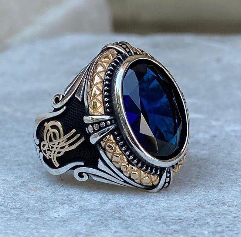 Silver Men Ring Muslim Ring Silver Ring Ottoman Ring Crescent Ring Art Deco Silver Ring Men Ring Silver Islamic Ring Islamic Ring