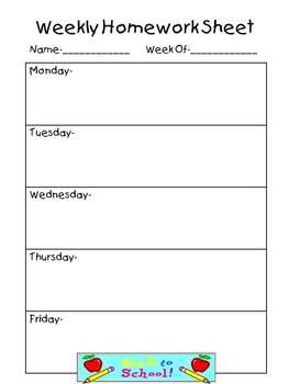 Weekly Homework Sheet-Complete Set in 2019   Homework sheet ...