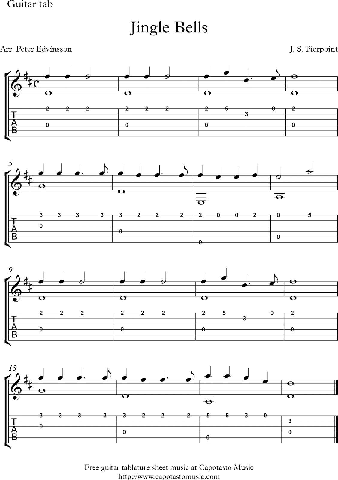 Jingle Bells Free Christmas Guitar Tab Solo Sheet Music Guitar Tabs Guitar Tabs Songs Easy Guitar Songs