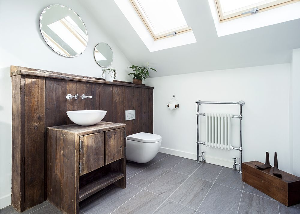 Cool, contemporary bathroom with scaffolding boards, white ...
