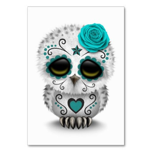 Cute Teal Day Of The Dead Sugar Skull Owl White Table